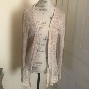 American Rag fly away cardigan with lace trim